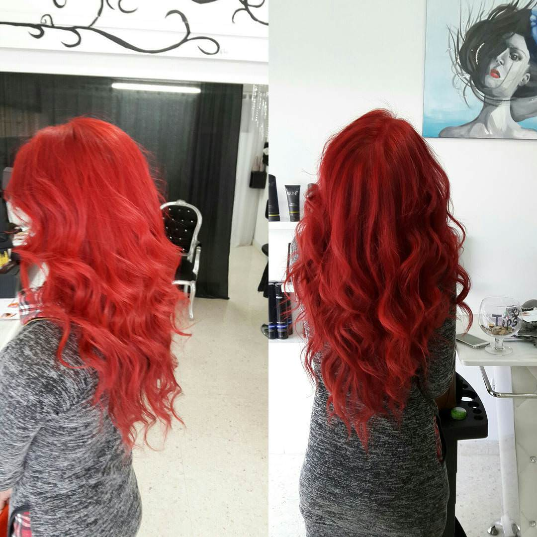 red colored wavy hair