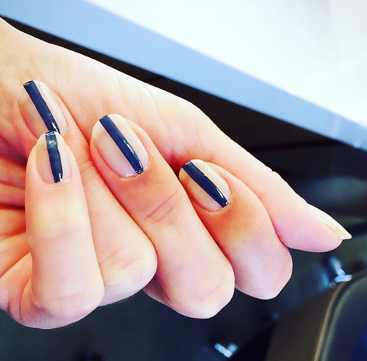 Blue Line Striped Nail Design