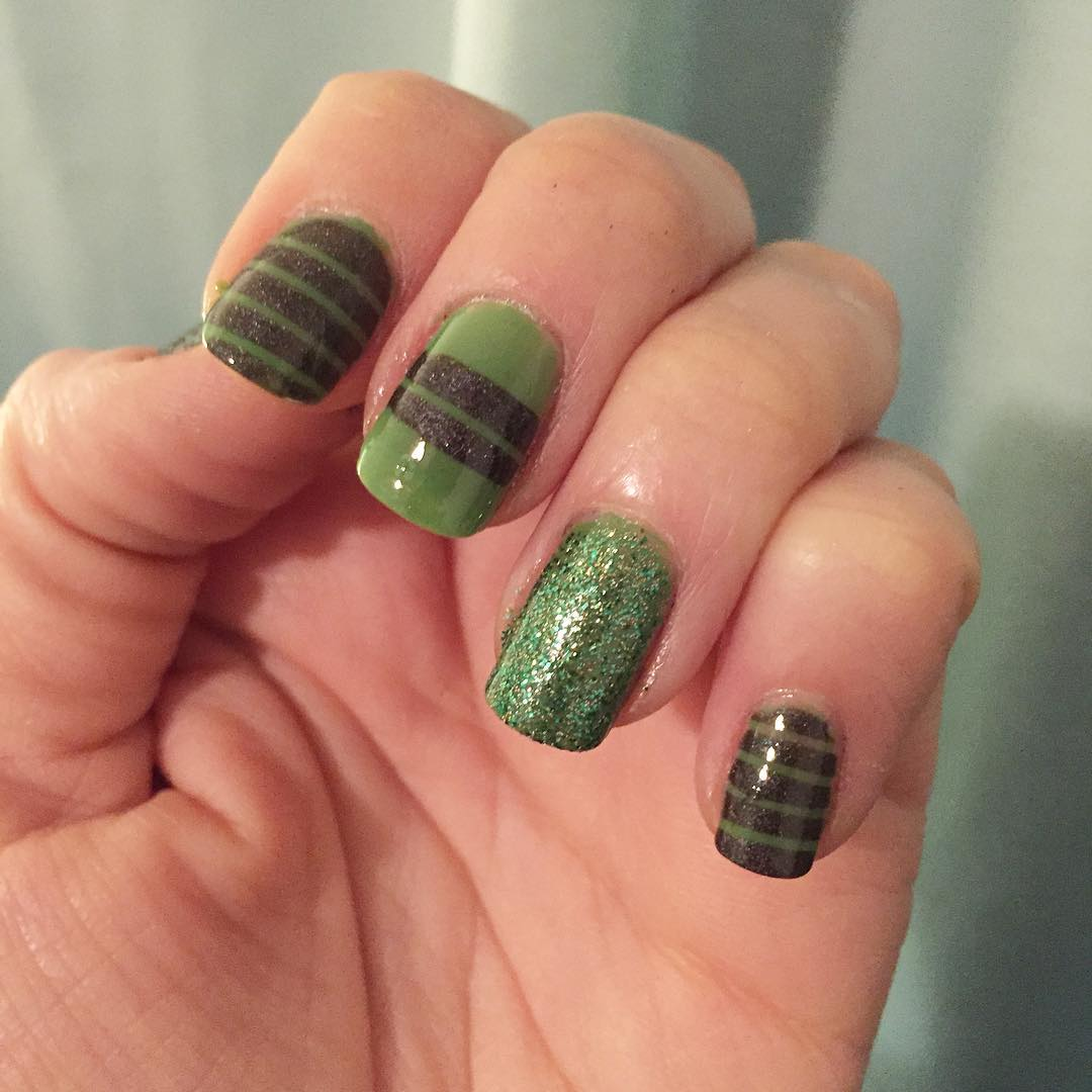 Green Striped Nail Design