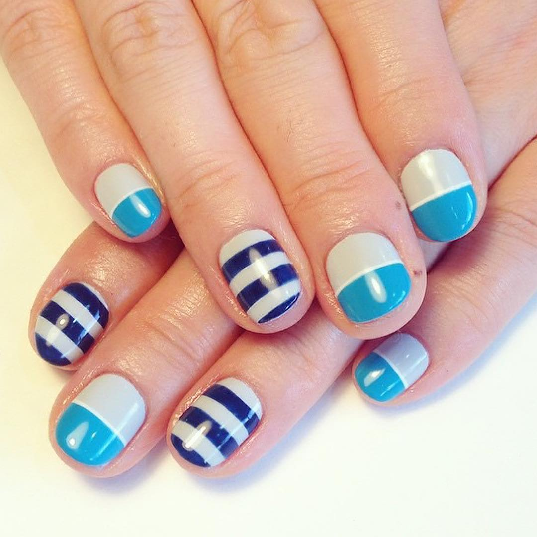 Blue & White Striped Nail Design