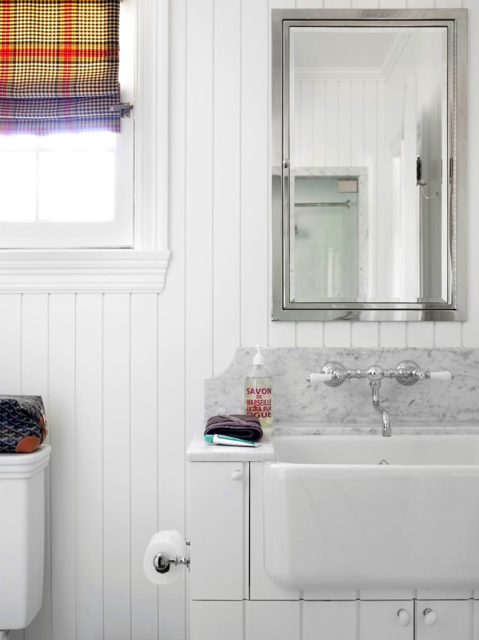 White Country Farmhouse Bathroom