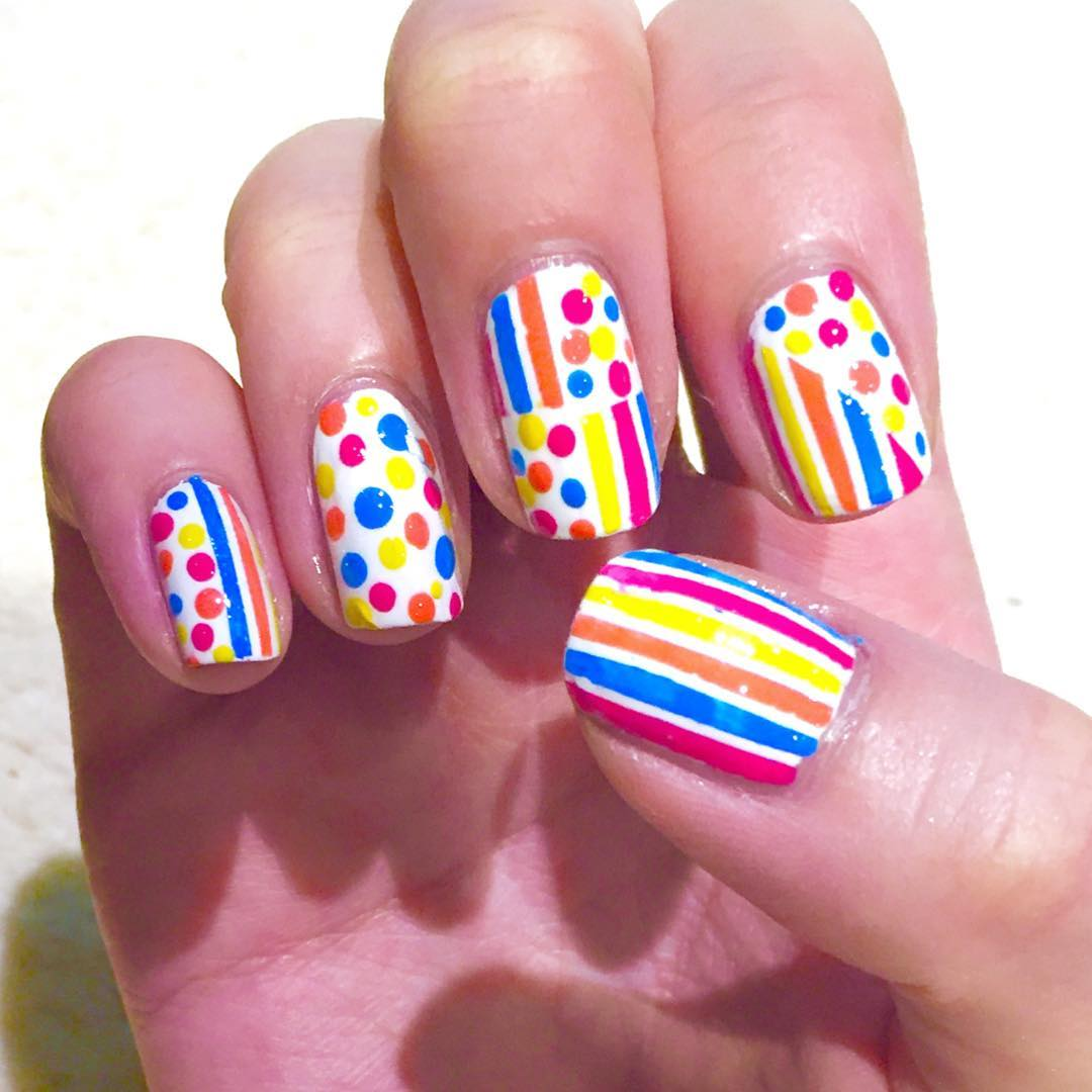 Colors Striped Nail Design