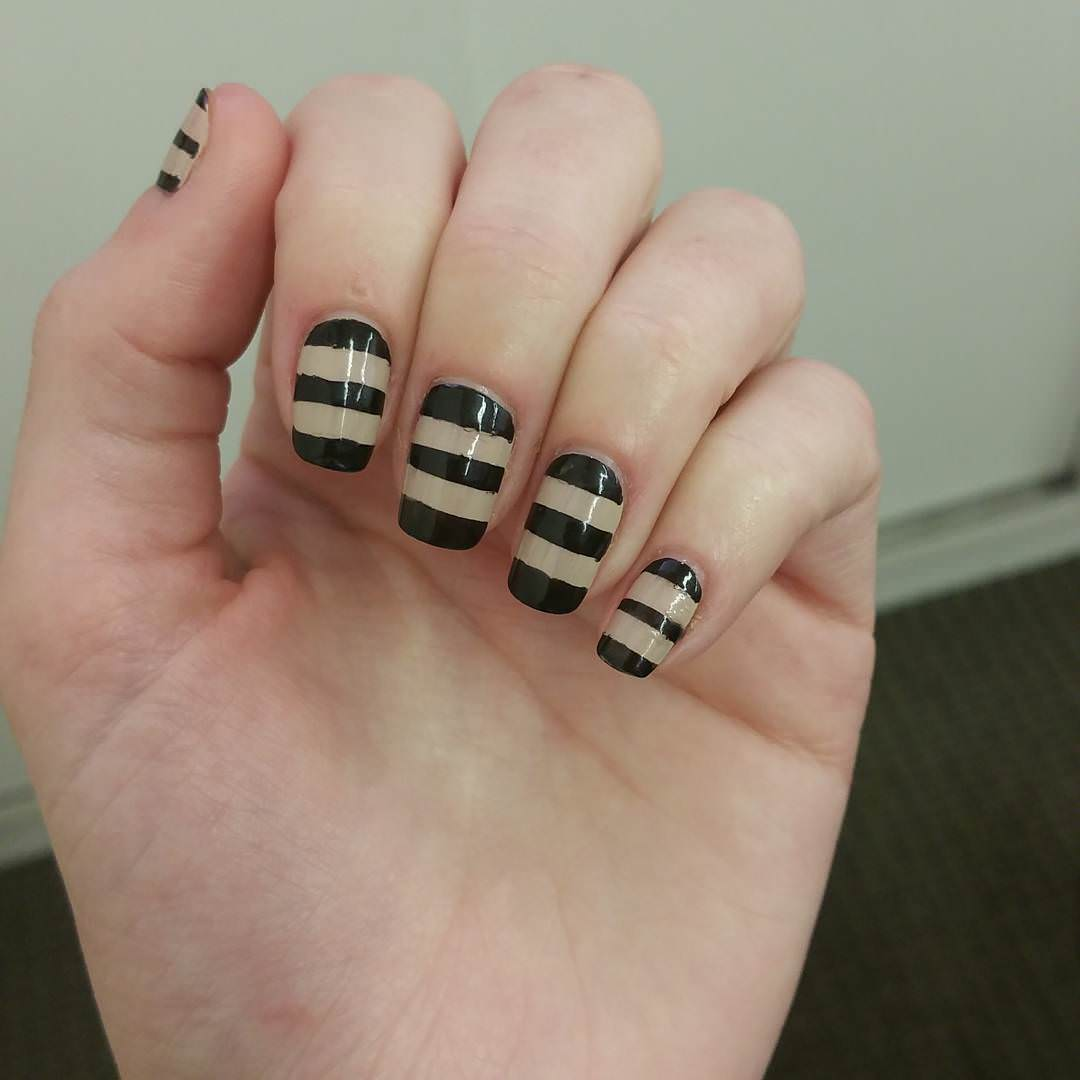 Black & White Striped Nail Design