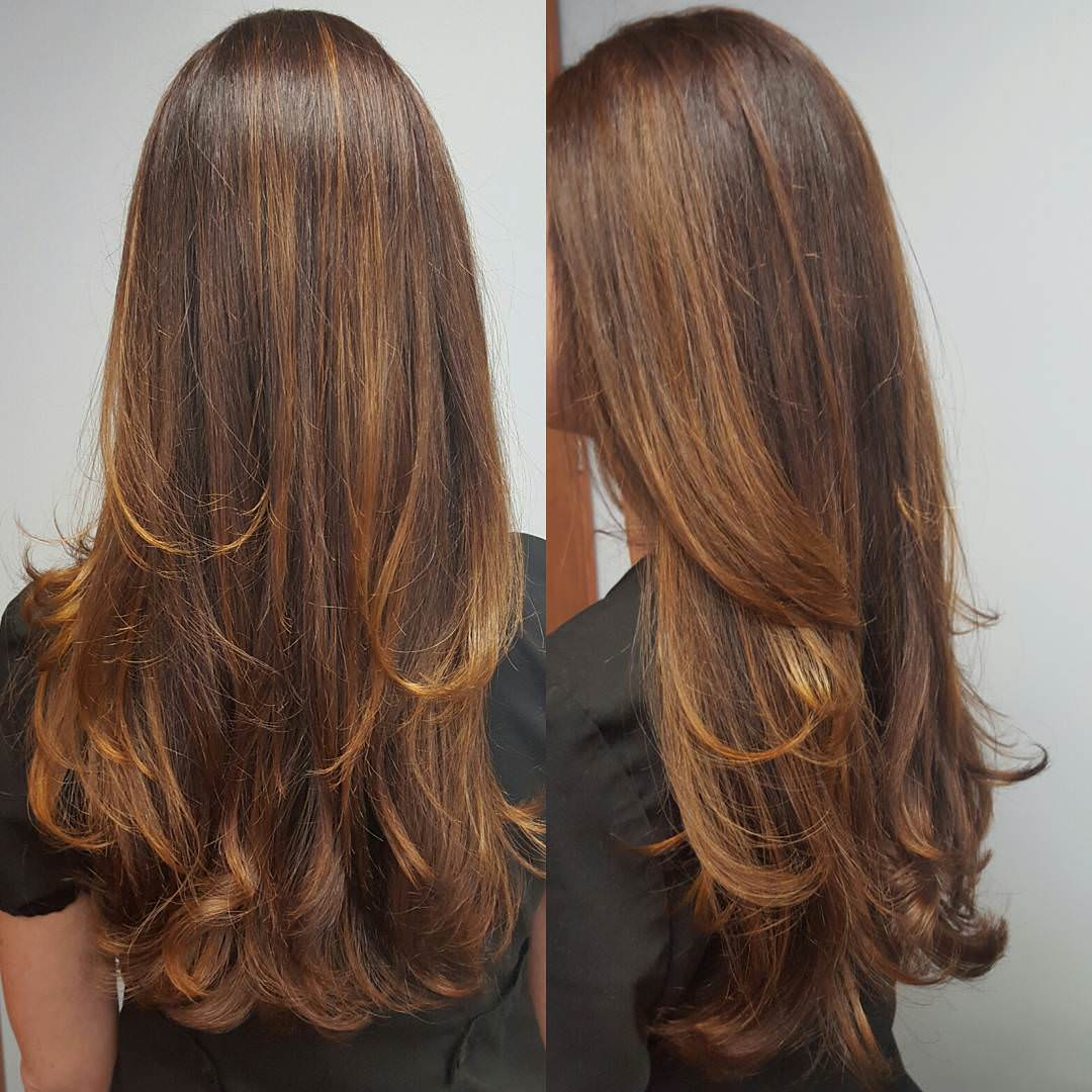 Brown Colored Long Layer Cut