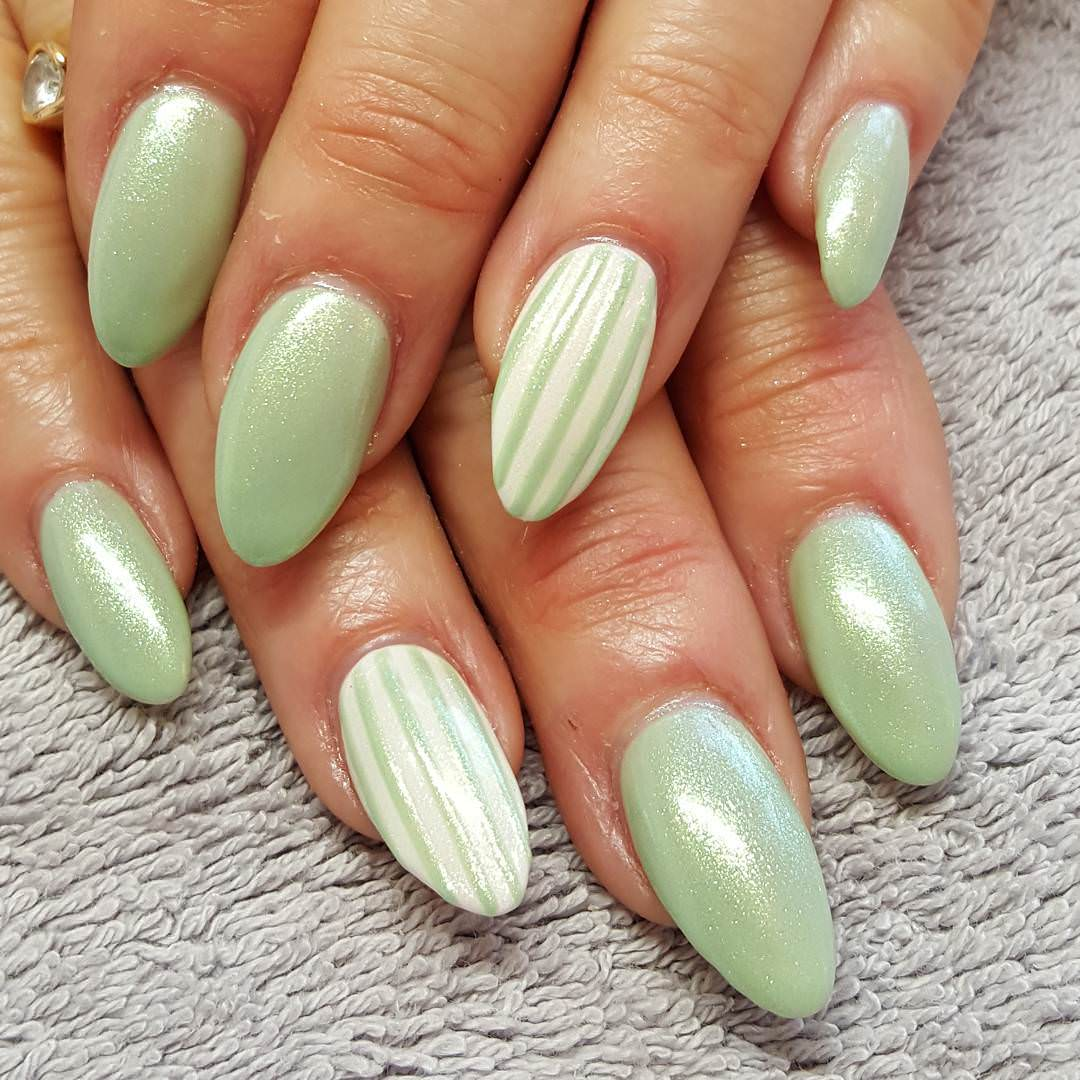 Light Green Striped Nail Design