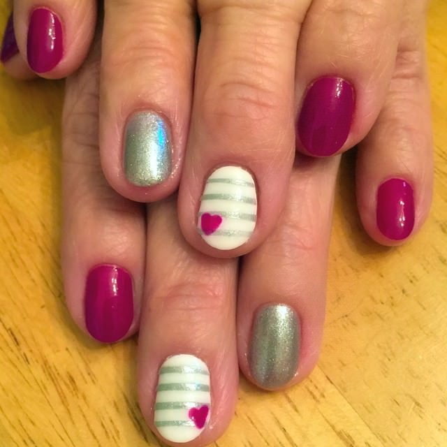 Colorful Love-Striped Nail Design