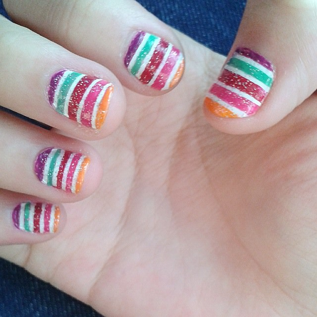 Fall & Striped Nail Design