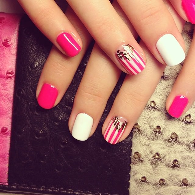 Pink & White Striped Nail Design