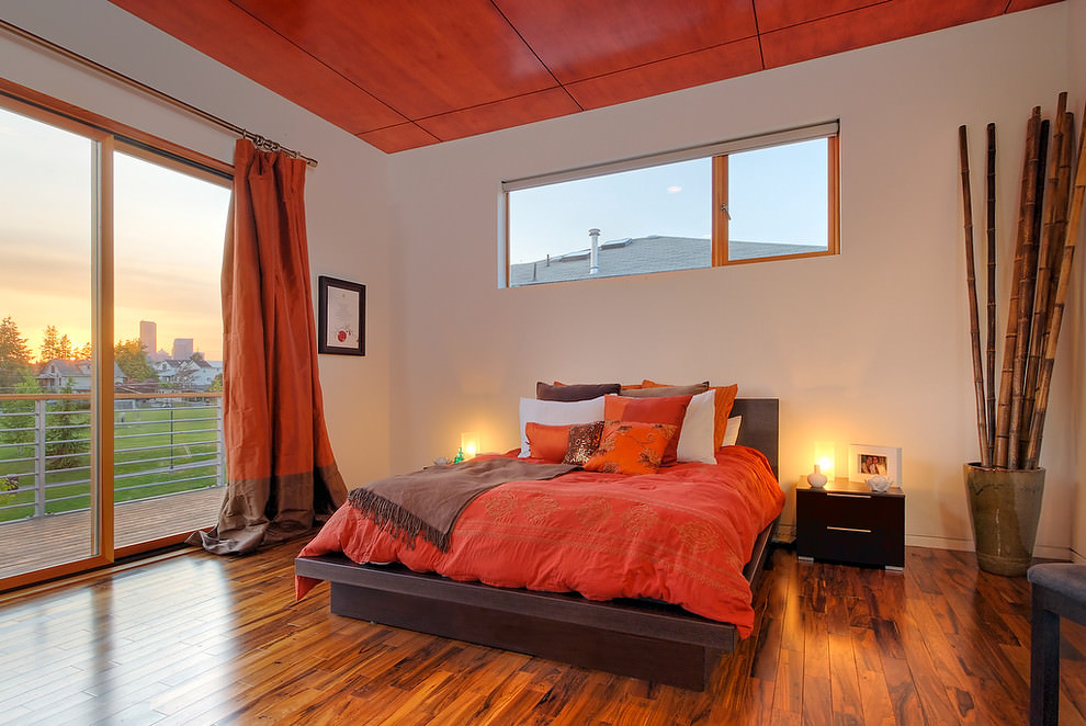 modern orange bedroom design