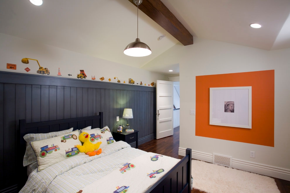Contemporary orange kids bedroom design