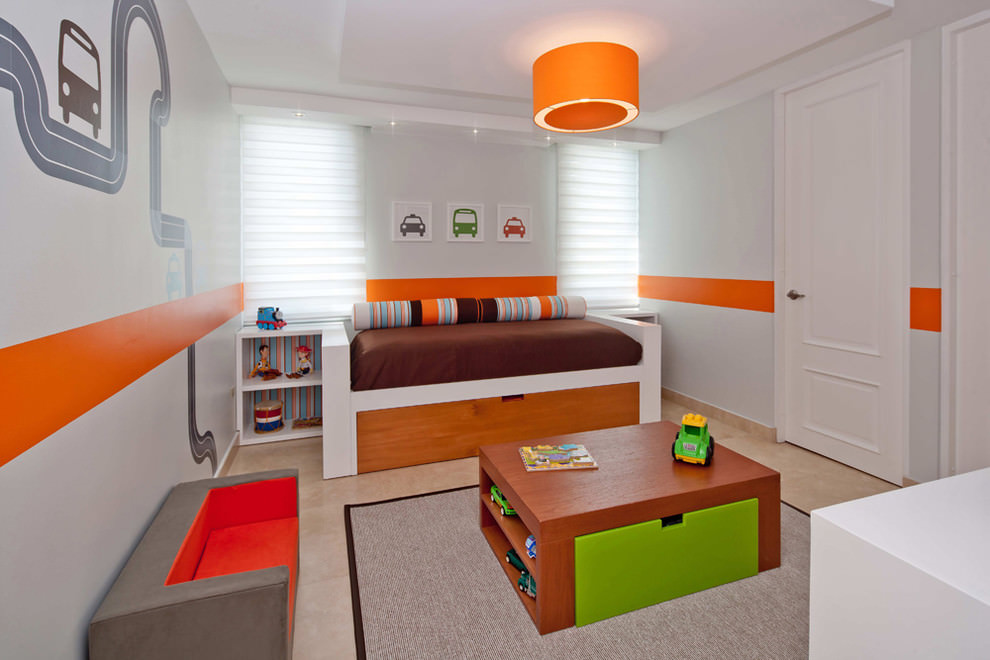 Beautiful orange kids bedroom design