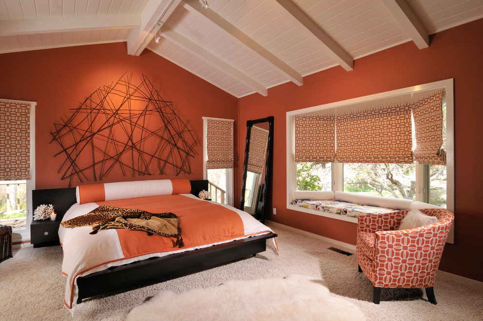 vibrant bright orange bedroom design