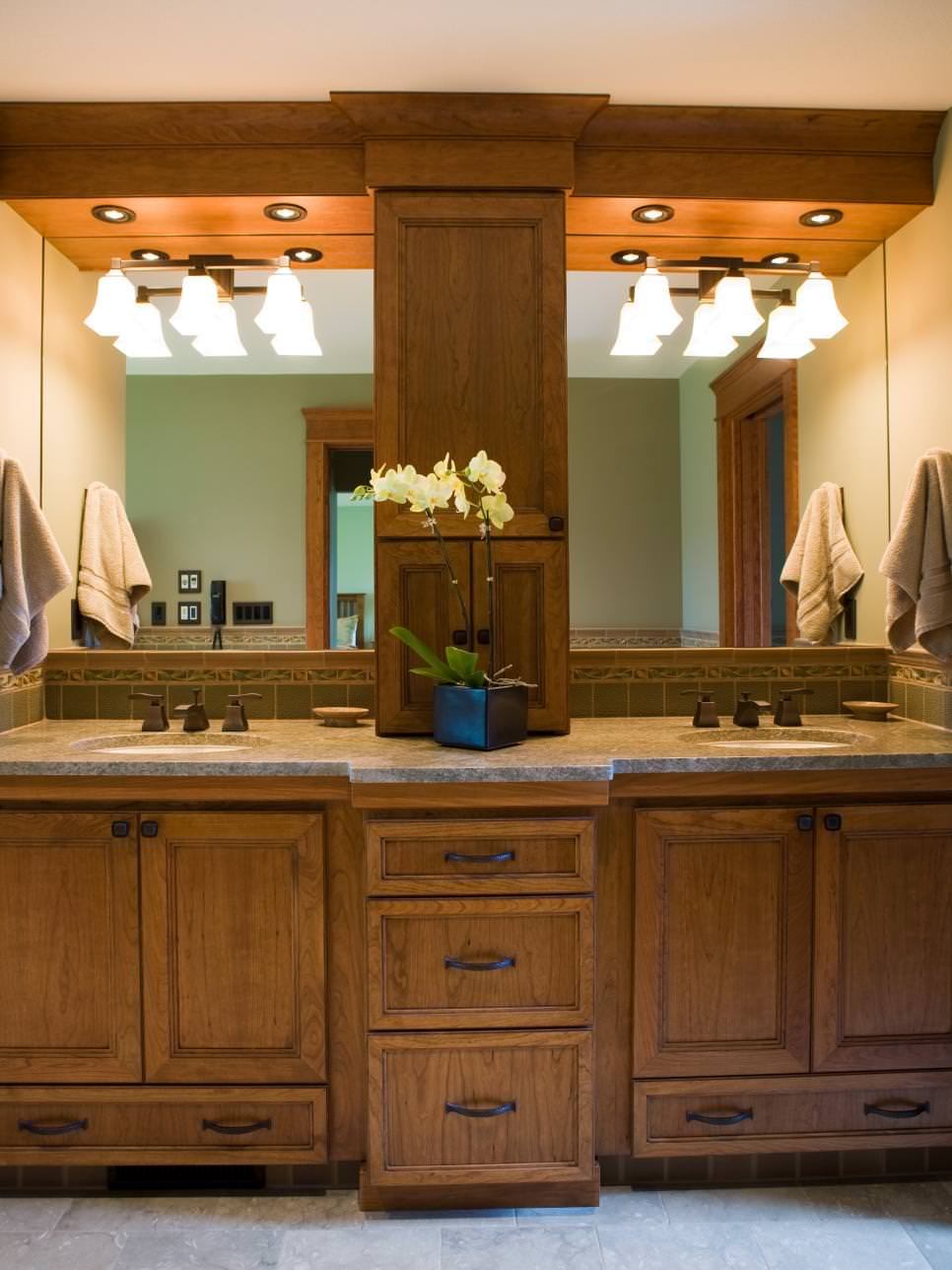 double wooden vanity in transitional bathroom