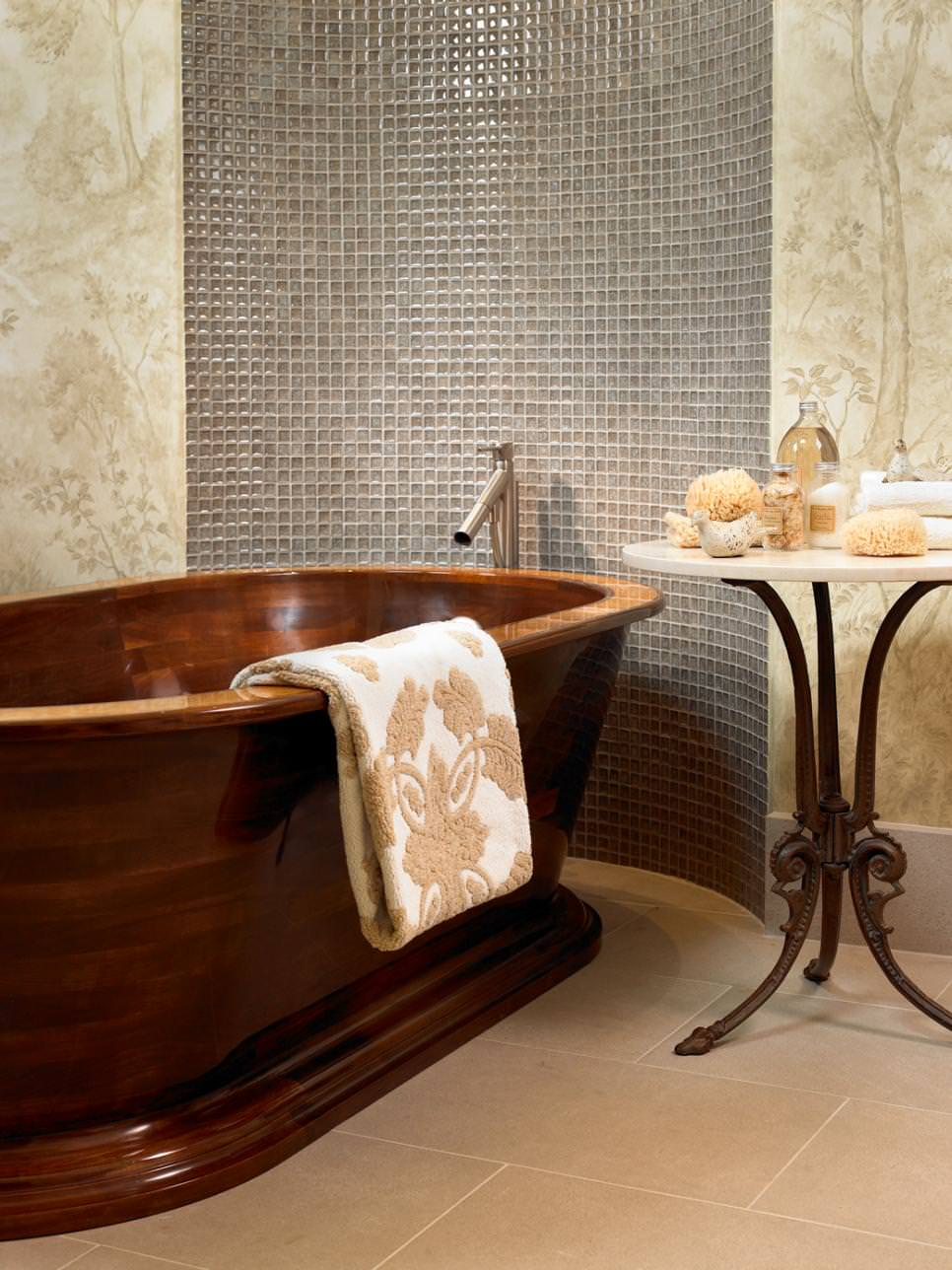 Contemporary Bathroom with Wooden Soaking Tub