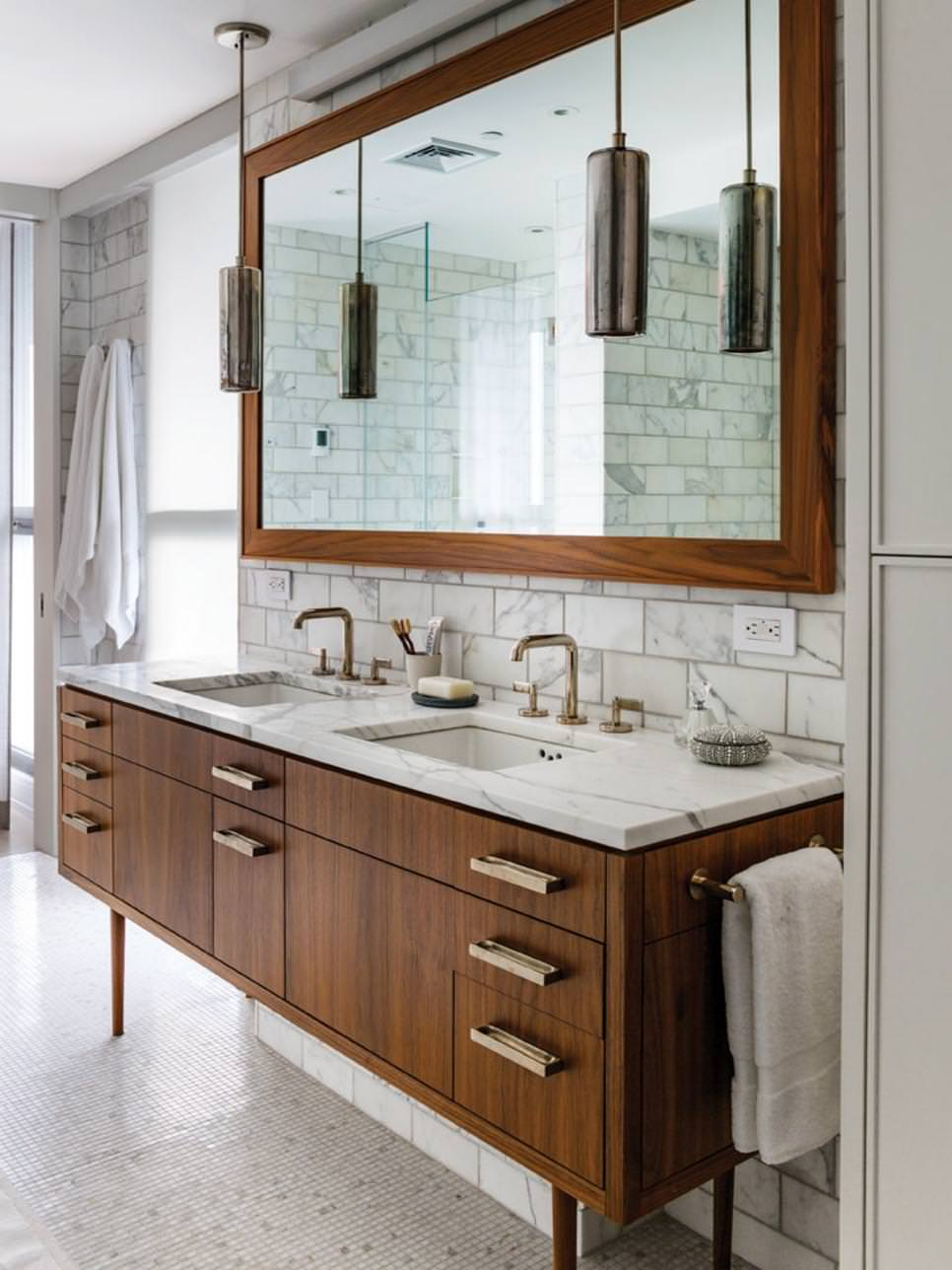 bathroom with warm wooden vanity