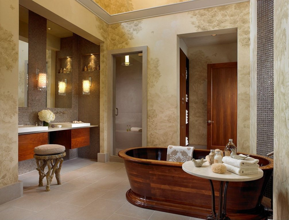traditional wooden bathroom
