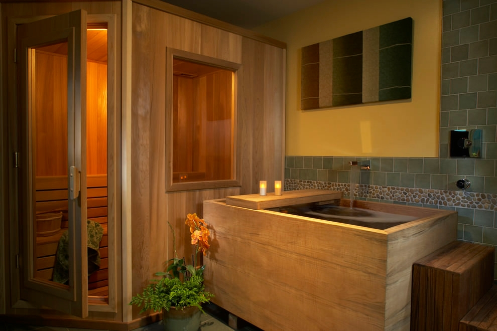 beautiful asian wooden bathroom
