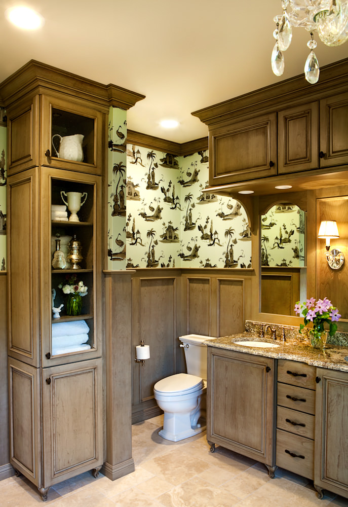 traditional wood molding bathroom