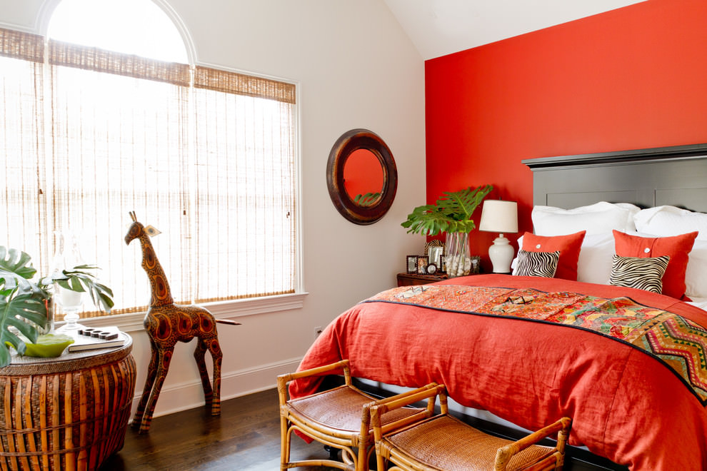bright orange bedroom design
