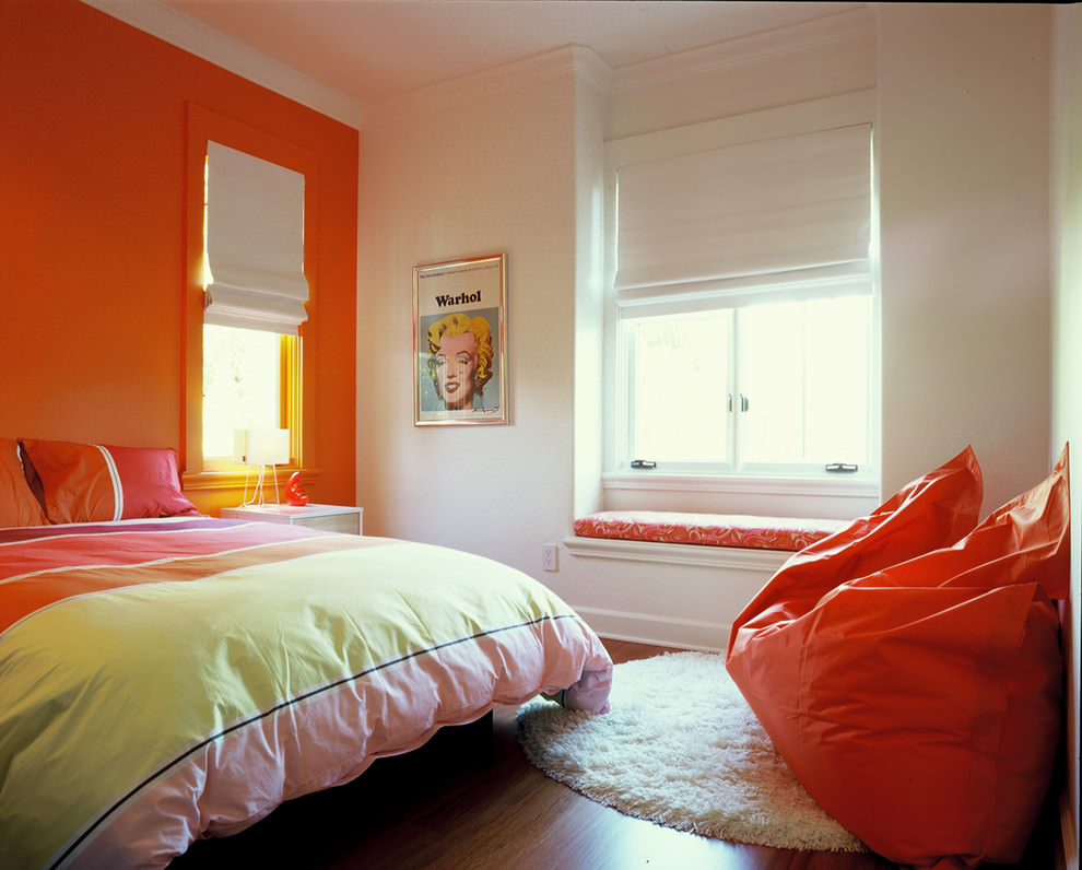 modern orange bedroom for kids