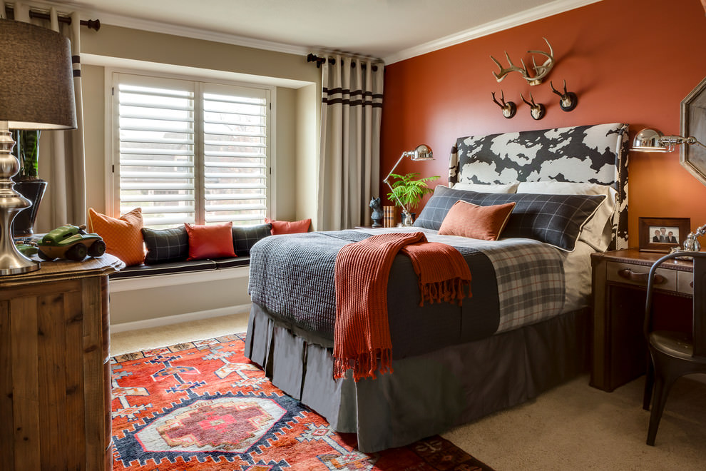 traditional kids bedroom with orange design
