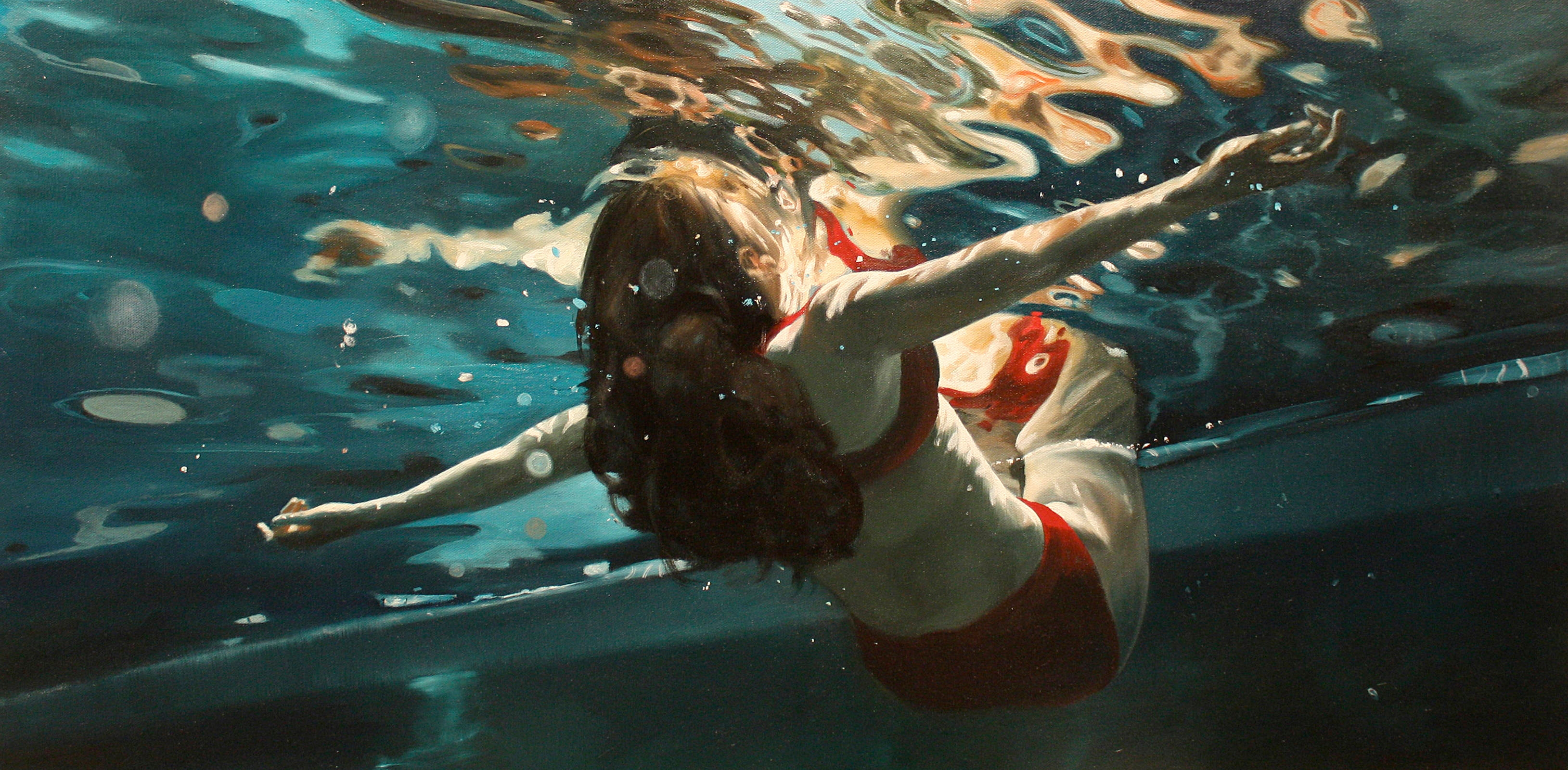 Beautiful Lady Underwater Painting