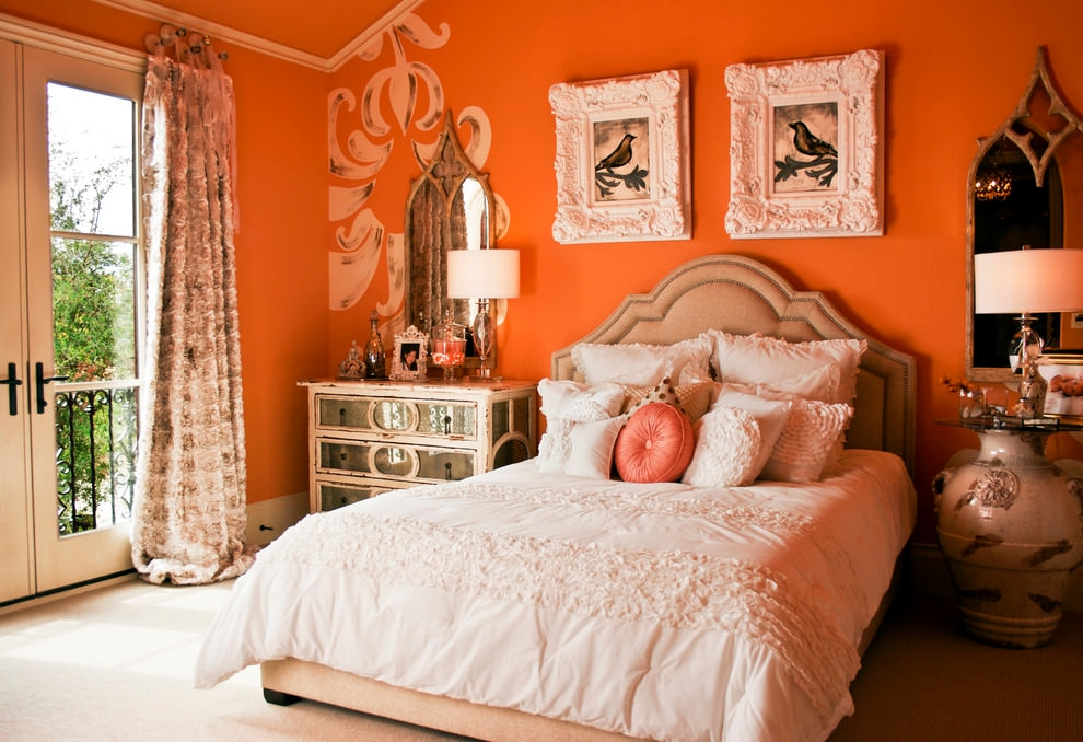 shabby chic style orange bedroom design