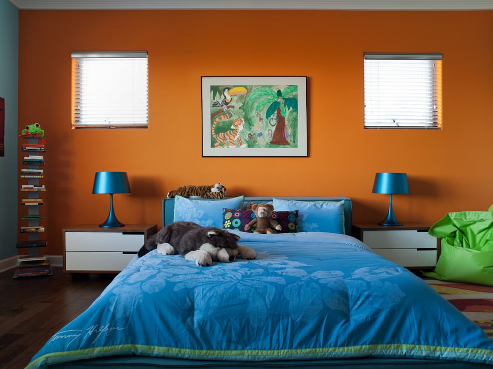Eclectic kids orange bedroom design