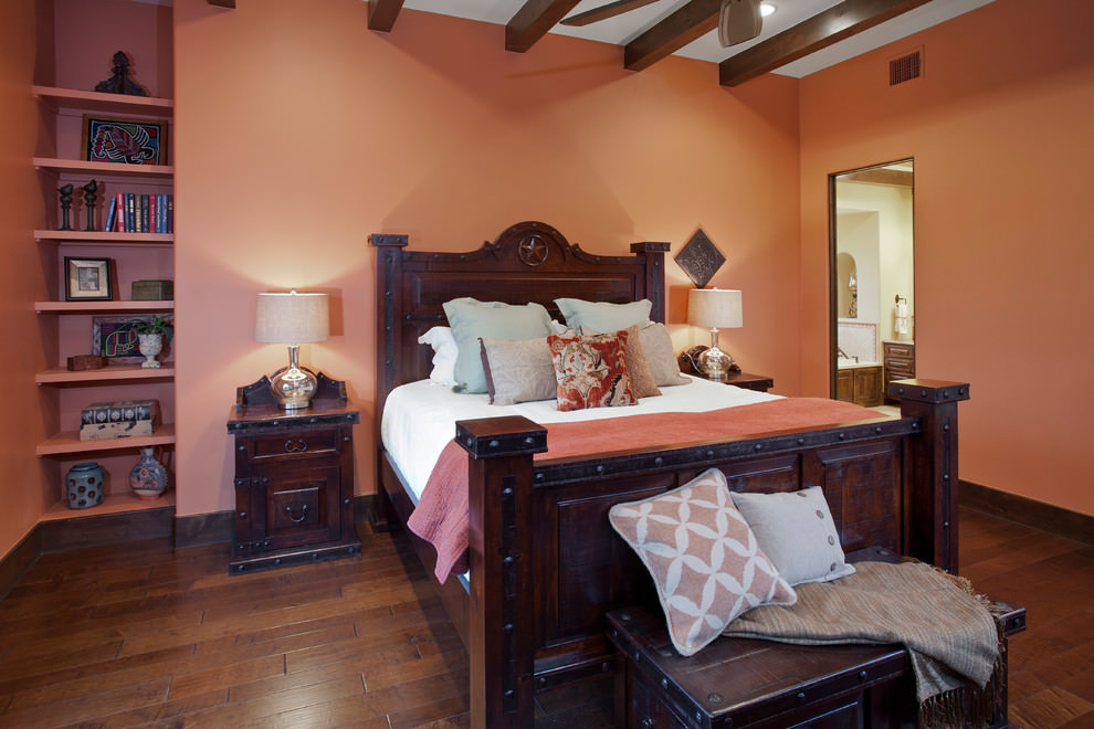 Southwestern orange bedroom design