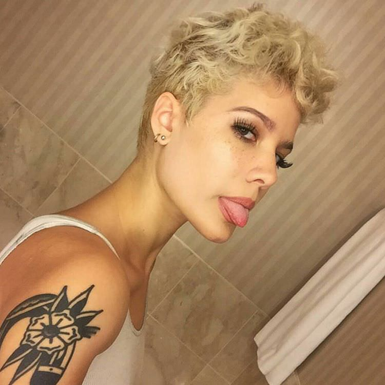 golden curly short hairstyle