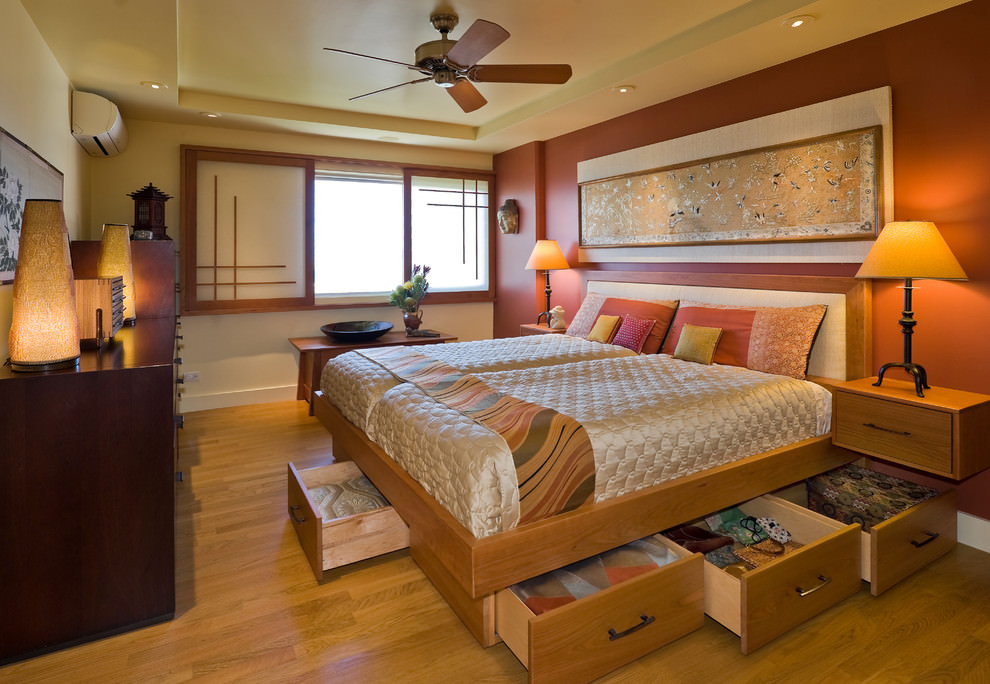 Asian orange bedroom design