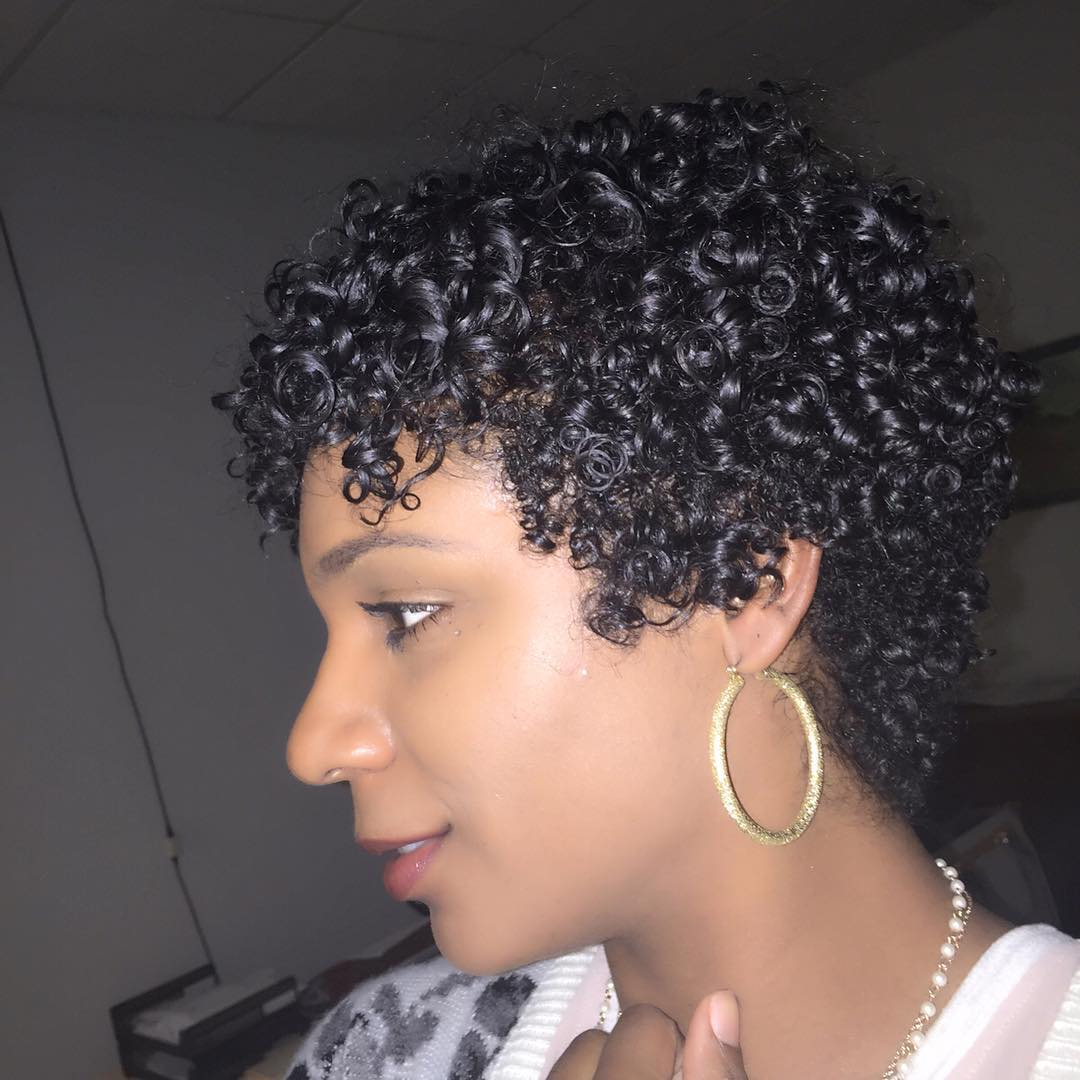 black smooth curly short hairstyle