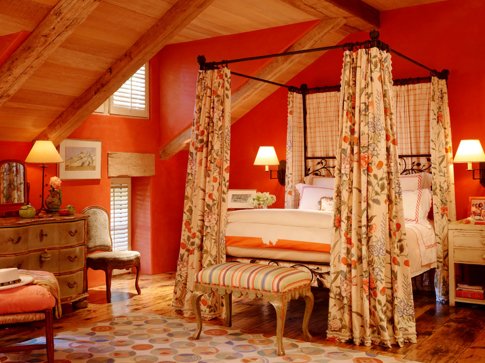 victorian orange bedroom design
