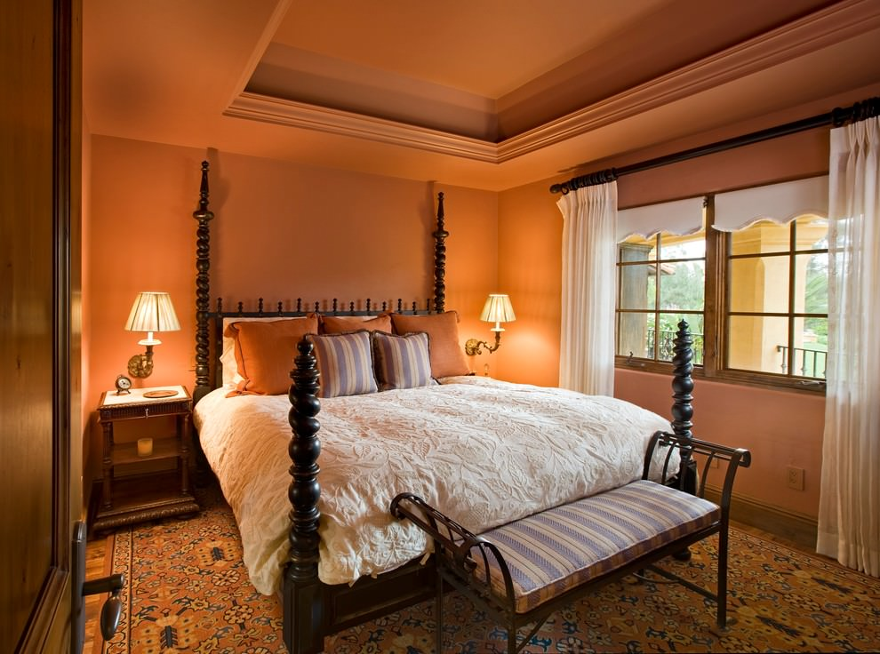 vibrant orange color bedroom design
