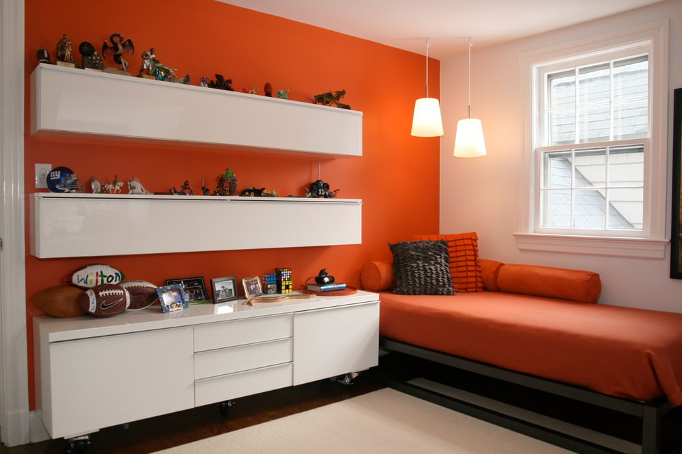 Orange boys bedroom design for kids
