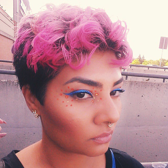 pink curly short hairstyle
