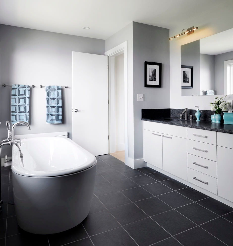 22 stylish grey bathroom designs decorating ideas for Bathroom ideas grey tiles