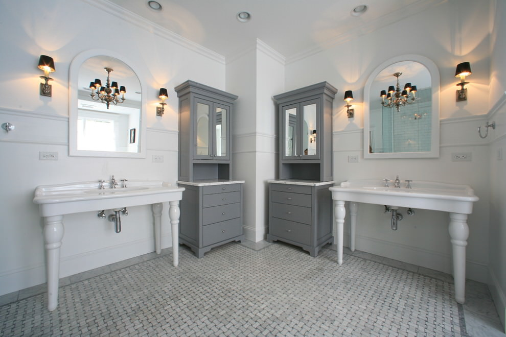 Eclectic Bathroom with Grey Painted Cabinets