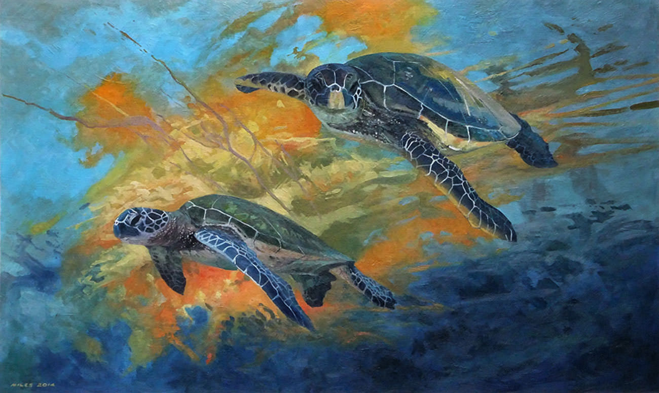 Underwater Paintings Green Turtles
