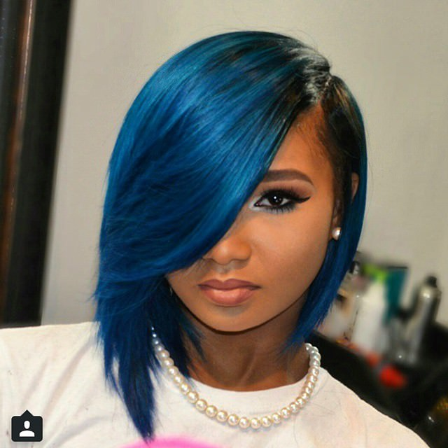 Blue Shade Bob Weave Hairstye