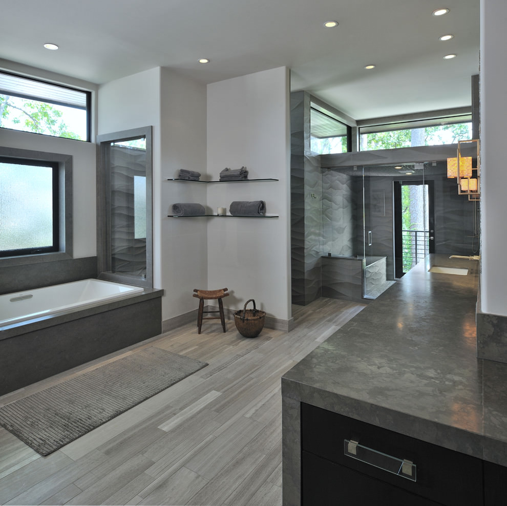 22 stylish grey bathroom designs decorating ideas for Contemporary bathroom design