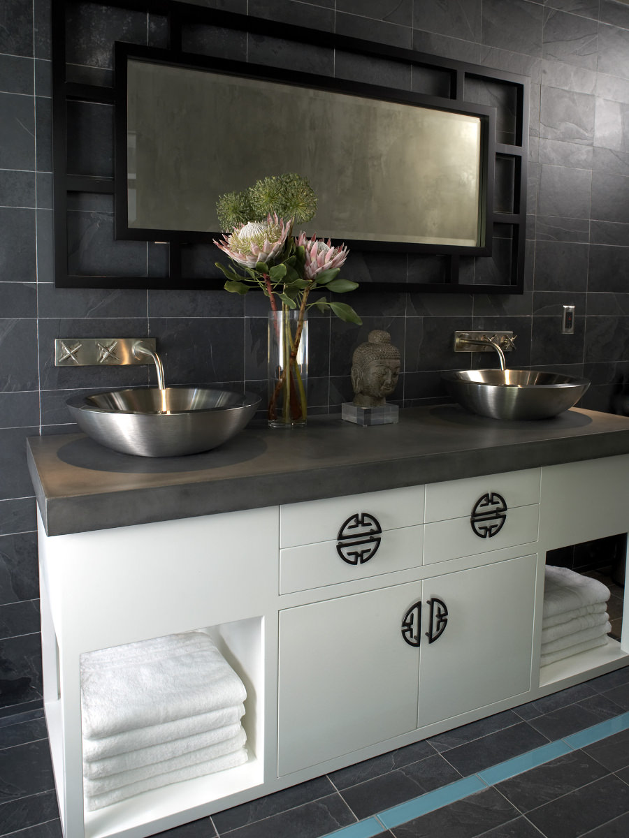 Grey Bathroom With Zen Style
