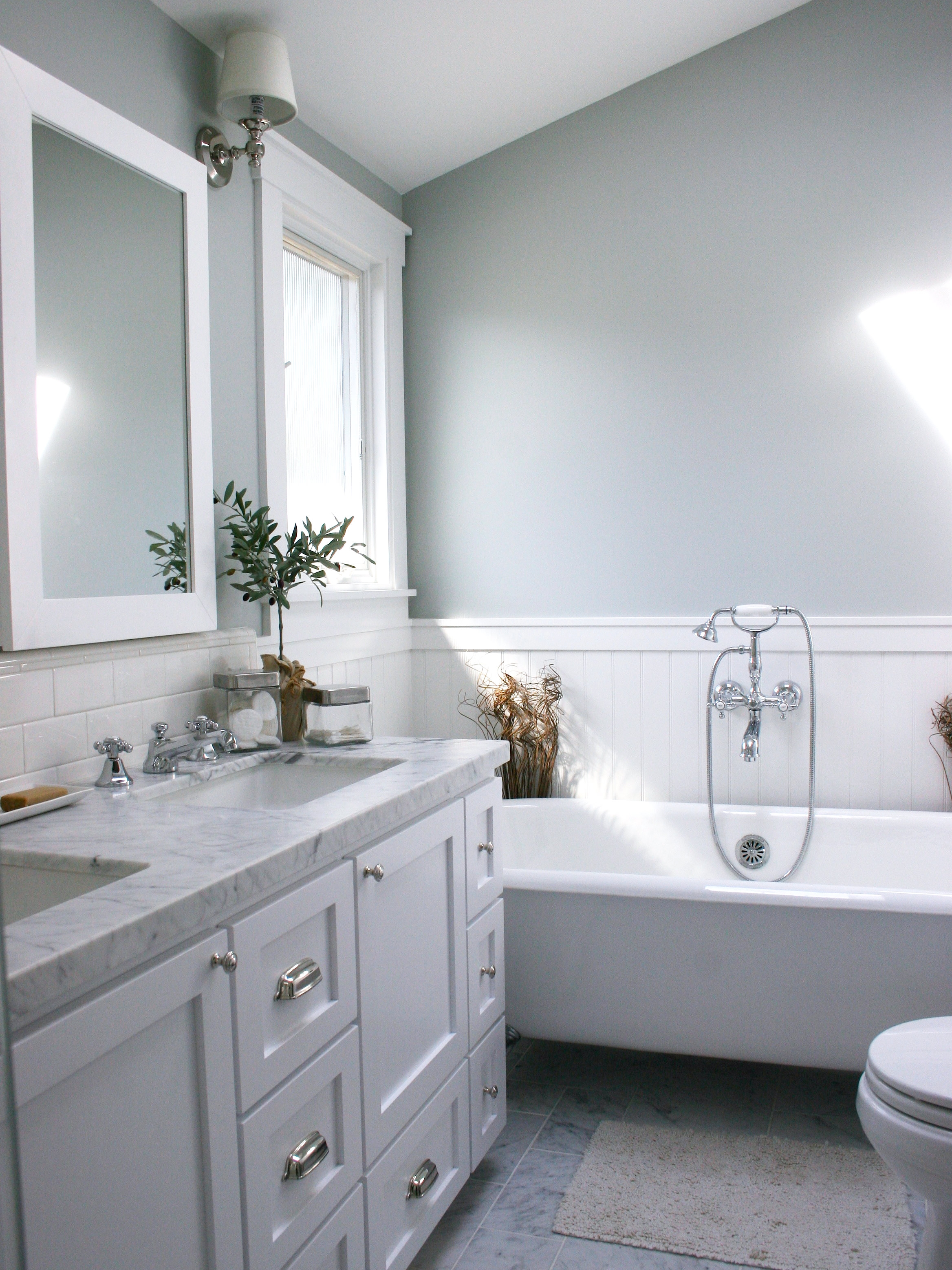 Wainscoting Bathroom Gray The Image Kid