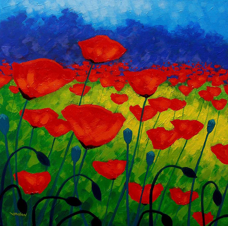 Poppy Corner Flower Painting