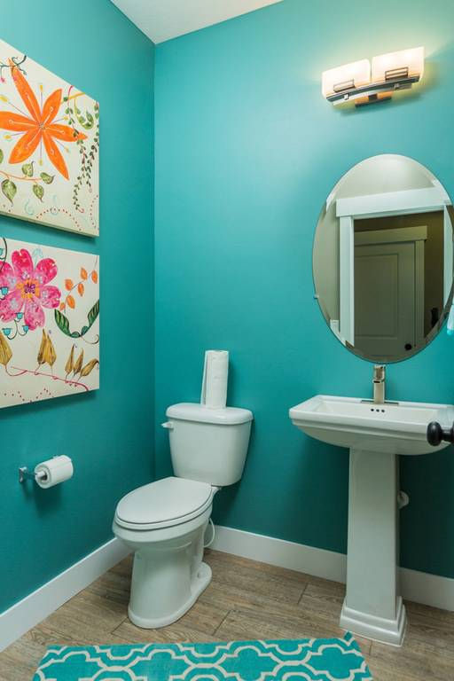 contemporary turquoise bathroom