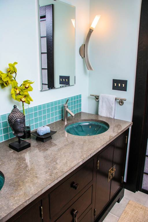turquoise asian full bathroom