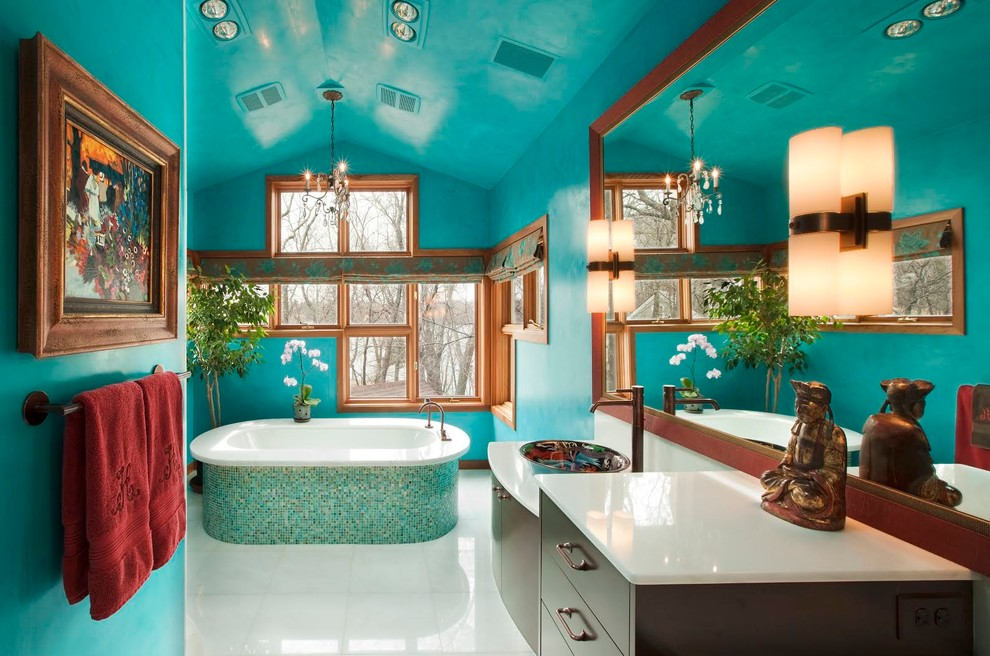 beautiful contemporary bathroom with turquoise
