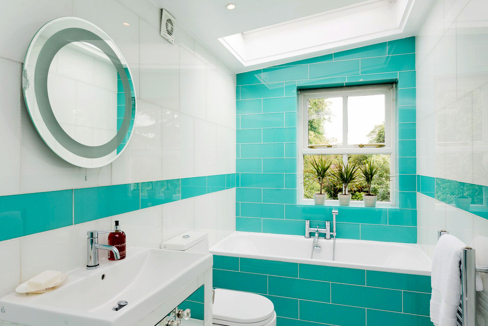 turquoise tiles added beauty to bathroom
