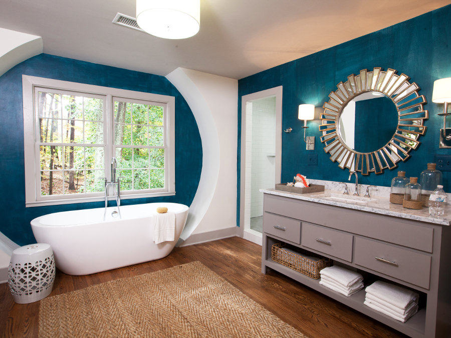 contemporary turquoise bathroom with modern bathrub