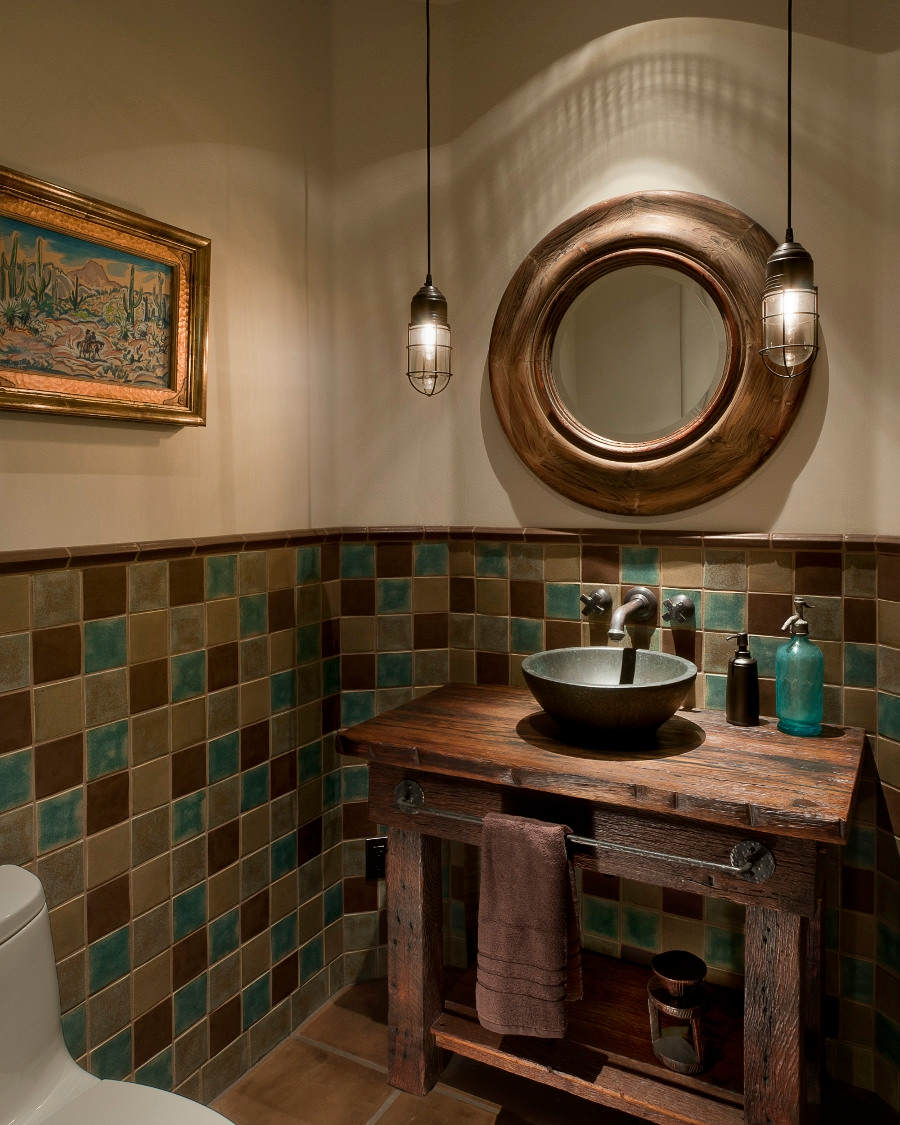 rustic bathroom with turquoise accents